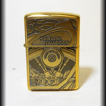 Collectible HARLEY DAVIDSON Brass ZIPPO Lighter - Tobacciana