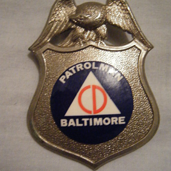 WWII  era Obsolete Civil Defense Patrolman badge for the city of Baltimore