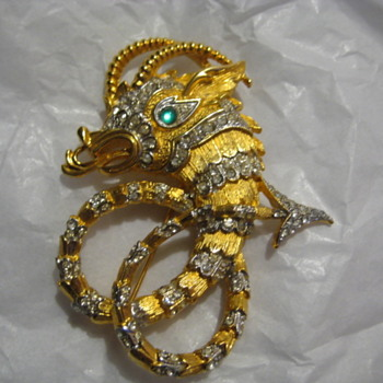 Vintage VENDOME Sea Serpent Brooch/Pin  - Costume Jewelry