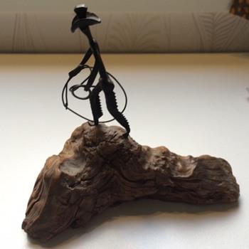 Cowboy sculpture on wood base - Fine Art