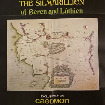1977 Caedmon The Map of Beleriand and the Lands to the North The Silmarillion J.R.R. Tolkien Poster Map - Posters and Prints