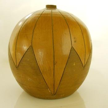 Geometric Ball Vase, Circa Mid Century - Pottery