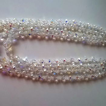 1960s Four Strand Austrian Crystal Aurora Borealis Crystal Necklace Thrift Shop Find -Cheap!  - Costume Jewelry