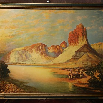 Gathering on the Green River by Thomas Moran - Antique Framed Print