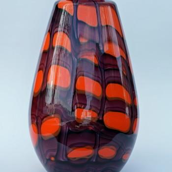 """HUGE Kralik webbed vase 14 1/2"""" tall - Art Glass"""