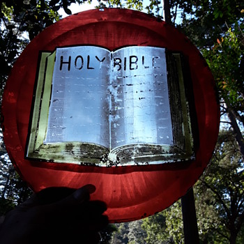 antique stained glass bible from a church window - Art Glass