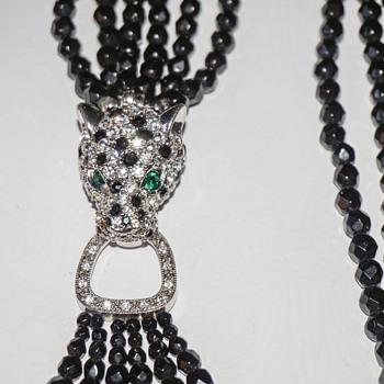 Vintage K.J.L. Kenneth J Lane Black Faceted Glass Bead Torsade Necklace Rhinestone Leopard Head Clasp - Costume Jewelry