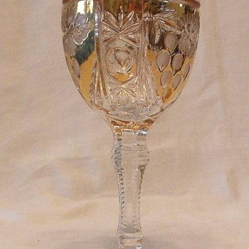 Pair of Wine Goblets Gold Gilt and Etched Glass Who Are We? - Glassware