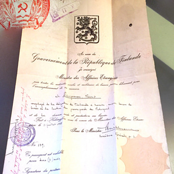 1922 Diplomatic Finnish passport