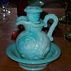 Milk Glass?? green Avon pitcher and saucer