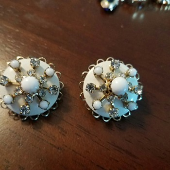 Interesting Story - Kramer Gold Plated Milk Glass & Rhinestone Clip Earrings - Costume Jewelry