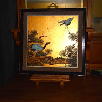 Asian Hand Painted Cranes on Gold Background - Asian