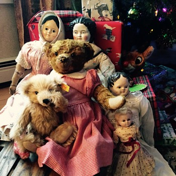 Antique Dolls and Teddy Bear on Vintage Sled - Dolls