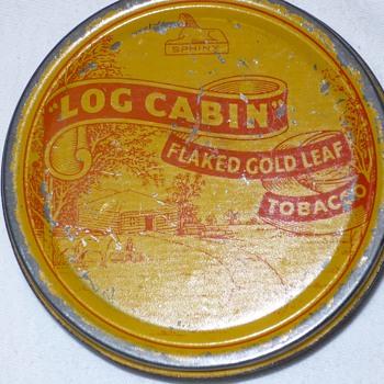 log cabin flaked gold leaf tobacco tin