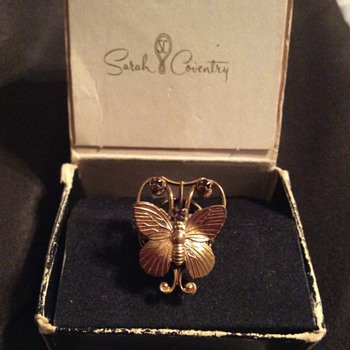 Sarah Coventry Butterfly Ring with Amethys Crystals