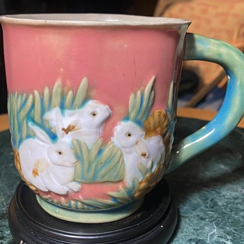 Majolica Coffee Cup with Rabbits - Pottery