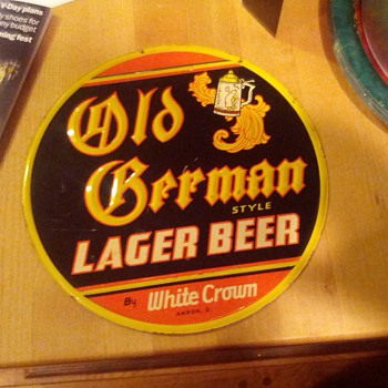 Old German Style Lager Beer by White Crown Tin Sign - Breweriana