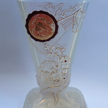 A mysterious opalescent pressed glass vase  - Art Glass