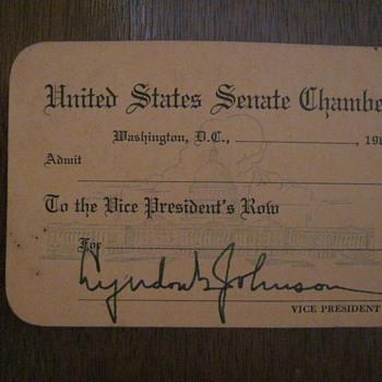 1963 United States Senate Pass - Lyndon B Johnson