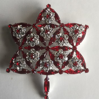 1967 Sherman Siam Red Centennial Brooch  - Costume Jewelry