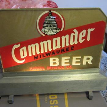 Capital Milwaukee Brewery Commander back bar reverse glass light by everbrite