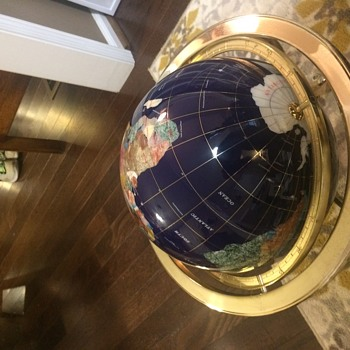 "Mother of Pearl 13"" Gemstone Globe on Gold Brass Table Top Stand - Office"