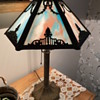 Slag glass lamp