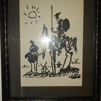 Late 50's Picasso don Quixote lithograph in original period frame - Fine Art