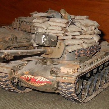 M48A3 Tank Model With Sandbags 1/35 Scale - Military and Wartime