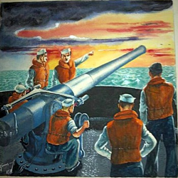 WW2 Navy war paintings done by my grandfather - Military and Wartime