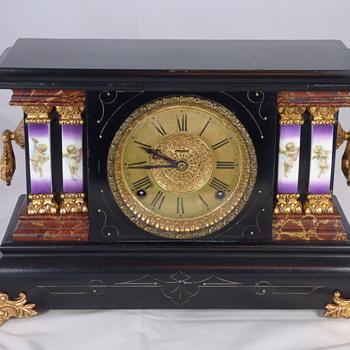 Ingraham Girl Cherub Black Mantel Clock - Clocks