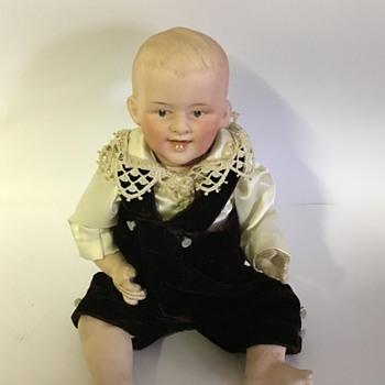 German bisque boy doll laughing w/ teeth - Dolls