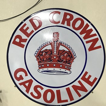 Red crown gasoline sign - Advertising