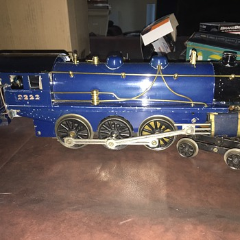 Boucher #2222 Wide Guage 4-6-0 Steam Locomotive and Tender, San Francisco Observation Car, Chicago Pullman, New York Combo Car, - Model Trains