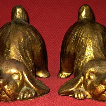 1930 PM Craftsman Cocker Spaniel Puppy Bookends - Animals