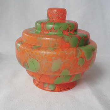 'Cutie Pie' Czech Glass Box Art Deco Green & Orange Spatter - no marks - Art Glass