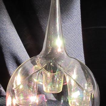 Art glass hanging votive holder - Art Nouveau