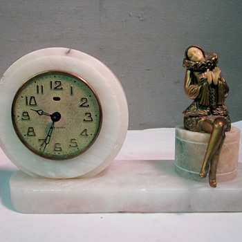 Art Deco Clock New Haven Clock with Seated Harlequin Woman, J. B Hirsch, 1925