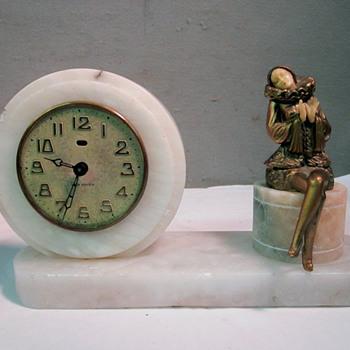 Art Deco Clock New Haven Clock with Seated Harlequin Woman, J. B Hirsch, 1925 - Art Deco