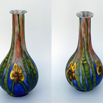Kralik Grand Marquetry vase 13 1/2' tall - Art Glass