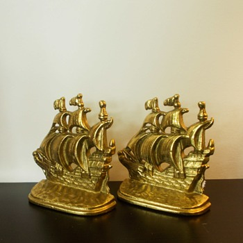 Clipper Ship Bookends, Spanish Iron Galleon, Prissys Newberry Antiques - Books