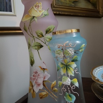 Satin Glass Vase with Enamel - Art Glass