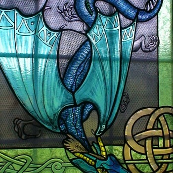 Celtic Dragon Large Stained Glass Window By Local Artist - Art Glass