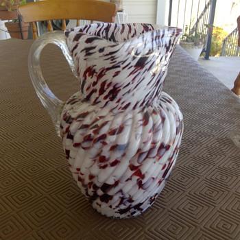 Bohemian Spattered Glass Jug - Art Glass