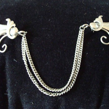Sterling Art Nouveau Double Pin Brooch with Chains
