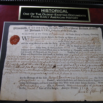 1719 Plymouth Colony Document