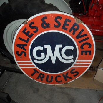GMC Sales & Service sign (double sided)