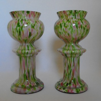 Pair of Large Welz Pedestal Vases - Art Glass