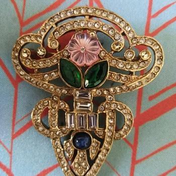 Multicolor rhinestone brooch - Costume Jewelry