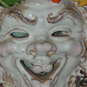 Italian Faience Majolica Pottery Wall Mask - Pottery